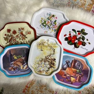 Vintage set of 8 Tip Snack Small Trays Metal